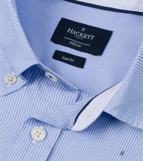Hackett London Camisa Celeste Rayas H cuello