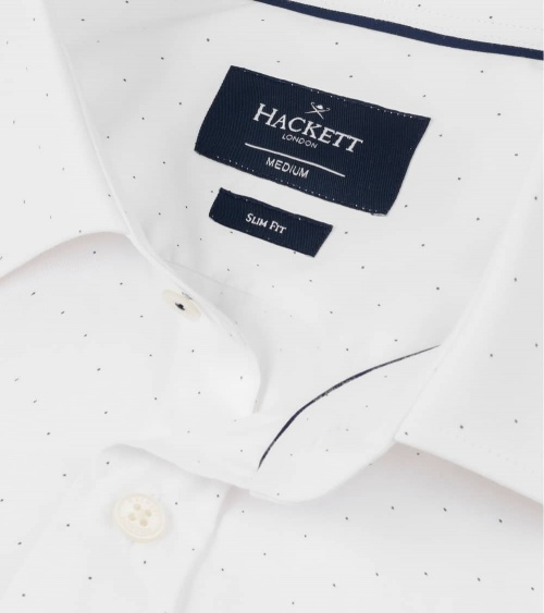 Hackett London Camisa Blanca Puntos cuello