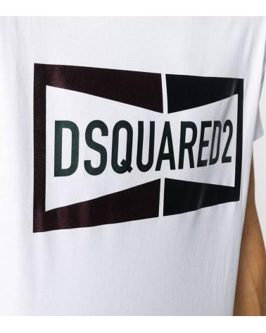 Dsquared2 Camiseta Blanca Logo Satinado detalle
