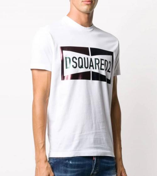 Dsquared2 Camiseta Blanca Logo Satinado modelo
