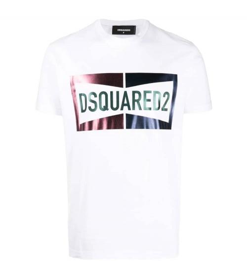 Dsquared2 Camiseta Blanca Logo Satinado