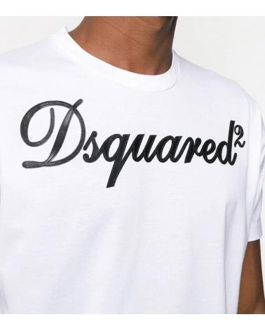 Dsquared2 Camiseta Blanca Logo Piel detalle