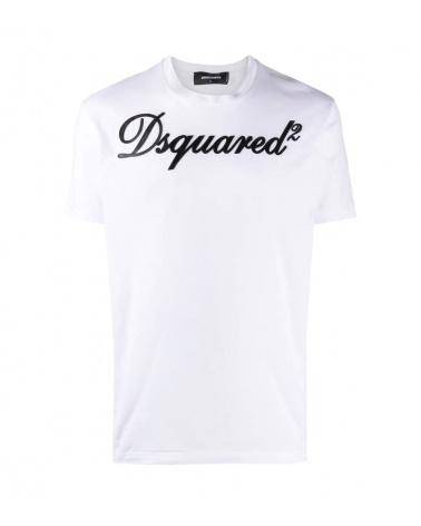 Dsquared2 Camiseta Blanca Logo Piel