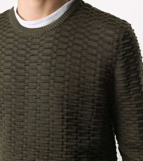 Emporio Armani Jersey Texturizado Militar detalle