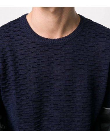 Emporio Armani Jersey Texturizado Marino detalle