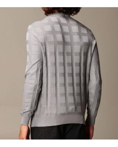 Emporio Armani Jersey Cuadros Gris modelo espalda
