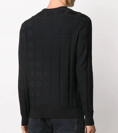 Emporio Armani Jersey Cuadros Marino modelo espalda