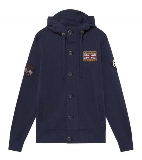 Hackett London Sudadera Zip Marino Parches