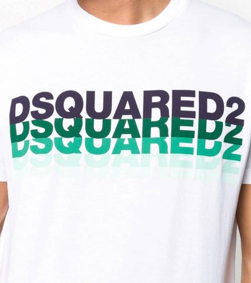 Dsquared2 Camiseta Blanca Multilogo Acqua detalle