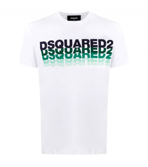 Dsquared2 Camiseta Blanca Multilogo Acqua