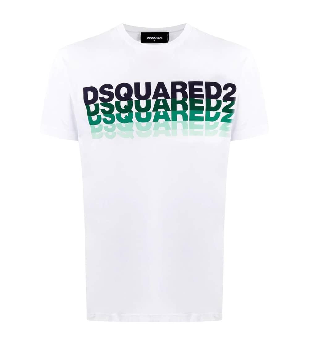 Dsquared2 Camiseta Blanca Multilogo Acqua