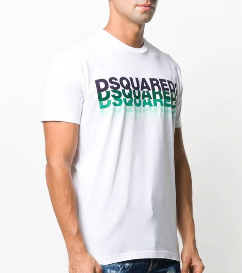 Dsquared2 Camiseta Blanca Multilogo Acqua modelo