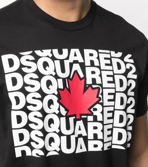 Dsquared2 Camiseta Negra Multilogo Hoja detalle