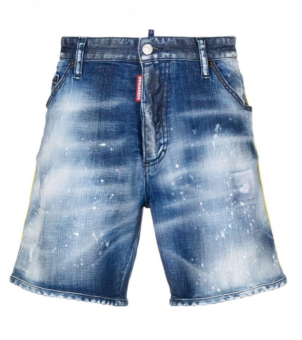 Dsquared2 Bermuda Jeans Tira Amarilla