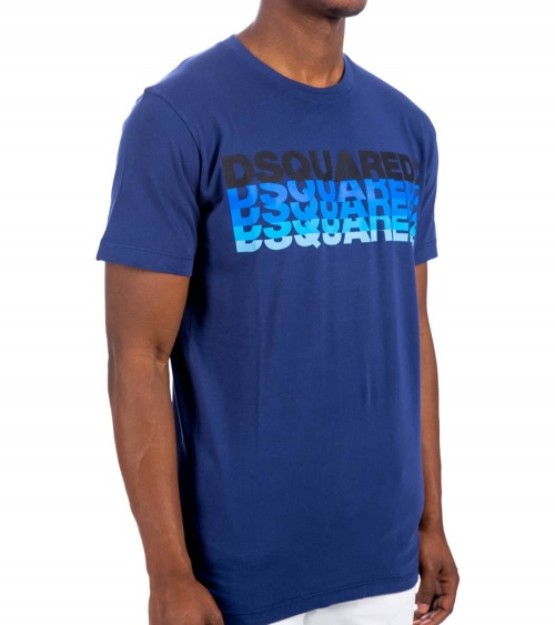 Dsquared2 Camiseta Azul Logo Degradé modelo lateral