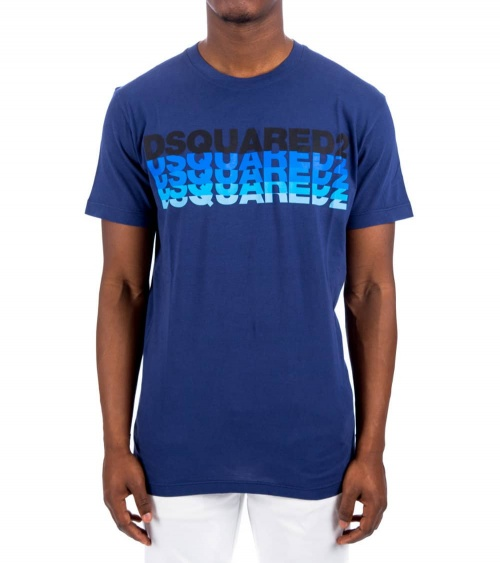 Dsquared2 Camiseta Azul Logo Degradé