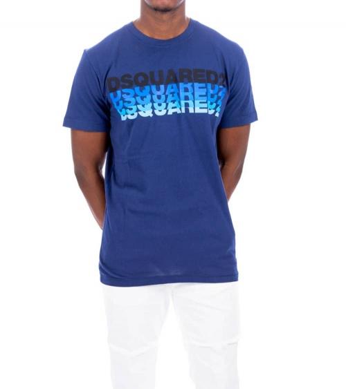 Dsquared2 Camiseta Azul Logo Degradé modelo