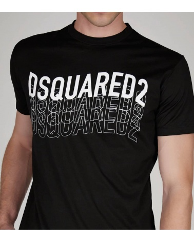 Dsquared2 Camiseta Negra Logo Letrero detalle