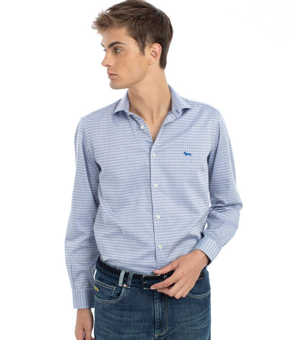 Harmont & Blaine Camisa Pata de Gallo Azul