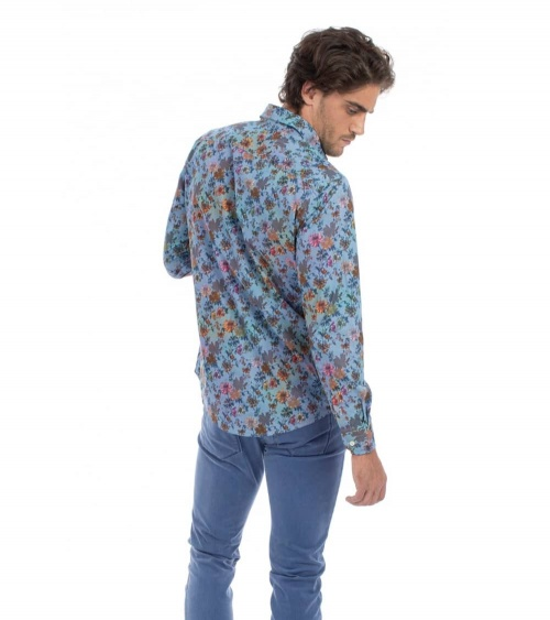 Harmont & Blaine Camisa Flowers Multicolor modelo lateral