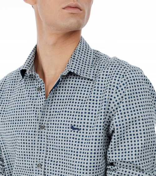 Harmont & Blaine Camisa Gris Puntos detalle