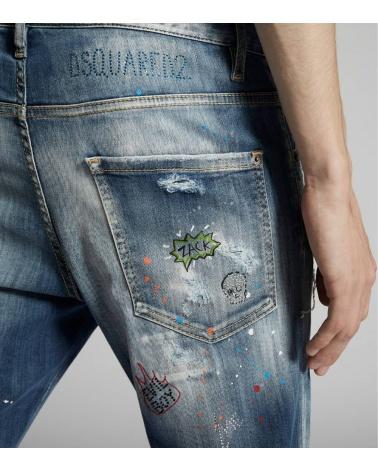 Dsquared2 Jeans Skater Comic Strass detalle detrás