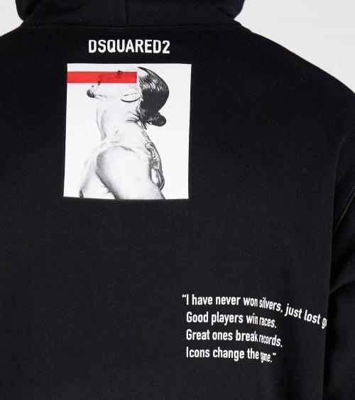 Dsquared2 Sudadera Ibrahimovic Capucha Negra detalle