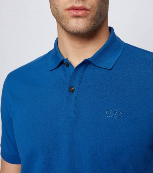 Hugo Boss Polo Pique Azulón detalle