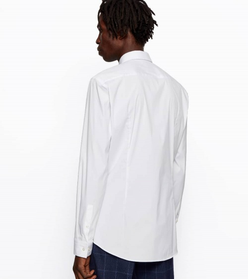 Hugo Boss Camisa Slim Popelín Blanca espalda