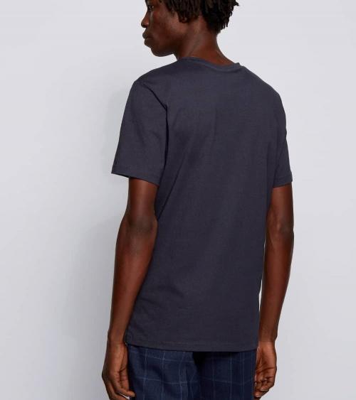 Hugo Boss Camiseta Básica Marino Hilo modelo espalda