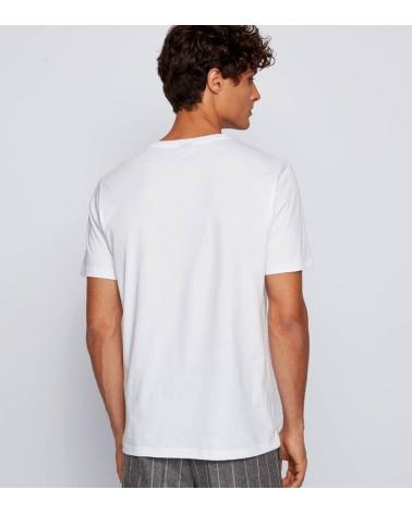 Hugo Boss Camiseta Básica Blanca Hilo modelo espalda