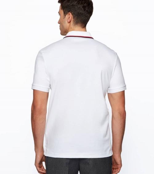 Hugo Boss Polo Blanco Rayas Cuello espalda