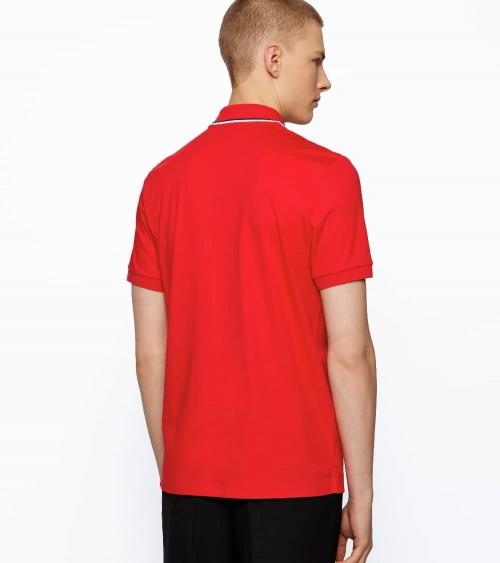 Hugo Boss Polo Rojo Rayas Cuello espalda