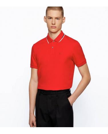 Hugo Boss Polo Rojo Rayas Cuello modelo