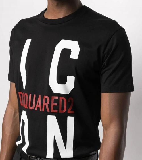 Dsquared2 Camiseta Big Icon Negra detalle