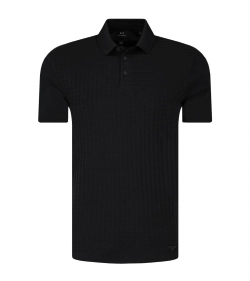 Emporio Armani Polo Jacquard Cuadros Negro