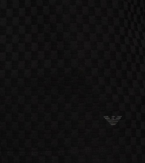 Emporio Armani Polo Jacquard Cuadros Negro detalle