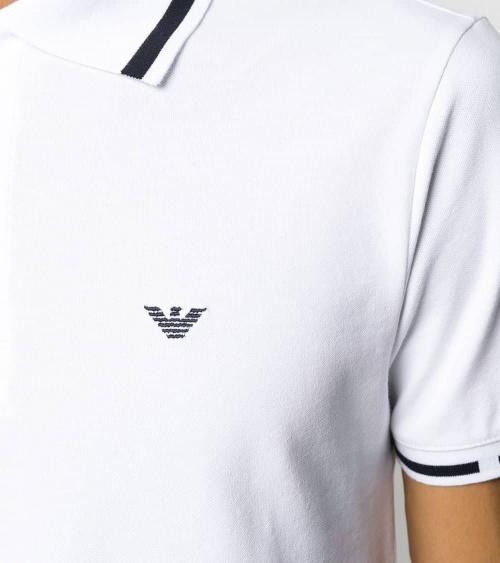 Emporio Armani Polo Blanco Línea Cuello detalle