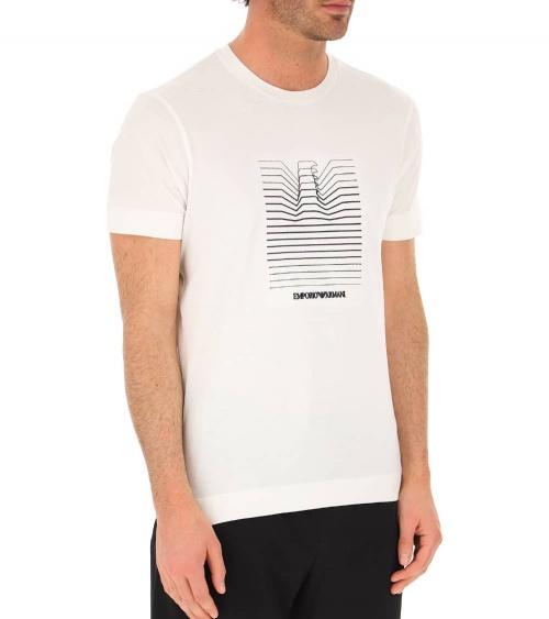 Emporio Armani Camiseta Blanca Líneas Logo modelo