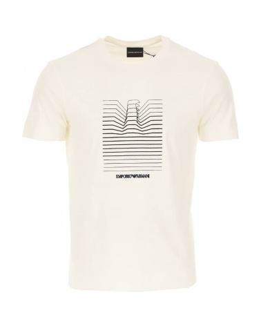 Emporio Armani Camiseta Blanca Líneas Logo