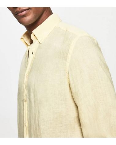 Hackett London Camisa Lino Amarilla detalle