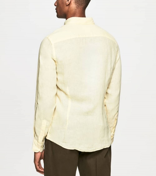 Hackett London Camisa Lino Amarilla espalda