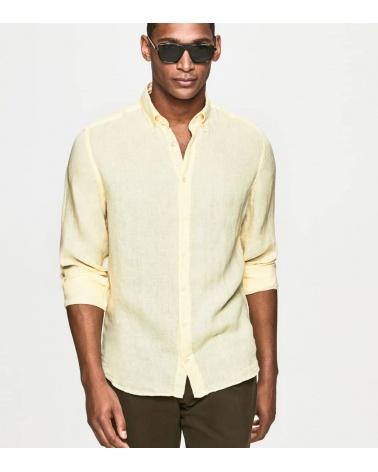 Hackett London Camisa Lino Amarilla modelo