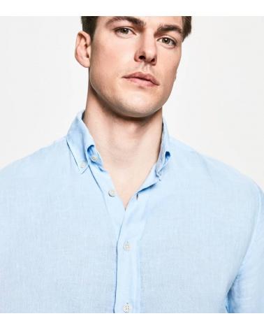Hackett London Camisa Lino Celeste detalle