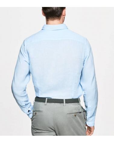 Hackett London Camisa Lino Celeste espalda