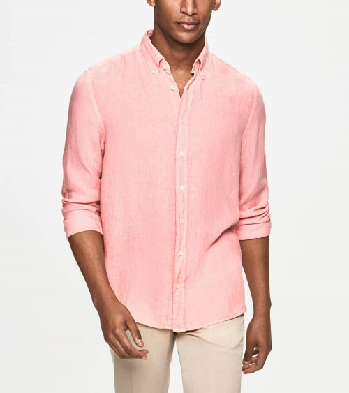 Hackett London Camisa Lino Rosa modelo
