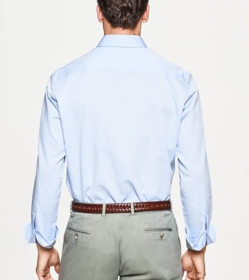Hackett London Camisa Microrayas Celeste espalda