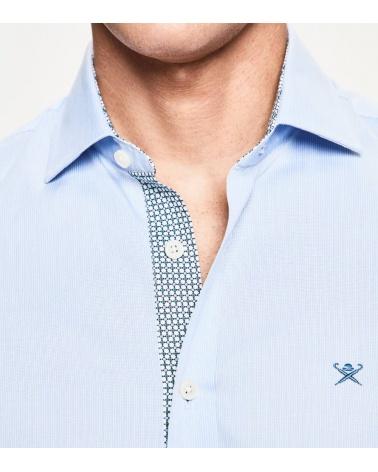Hackett London Camisa Microrayas Celeste detalle
