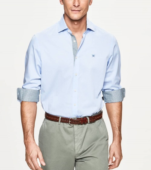 Hackett London Camisa Microrayas Celeste modelo