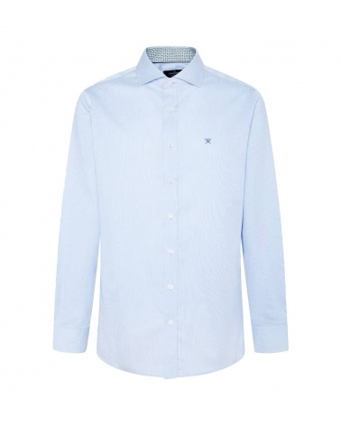 Hackett London Camisa Microrayas Celeste